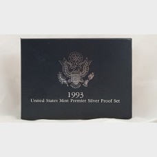 1993-S U.S. Mint Premier Silver Proof Set 5 Total Coins w/Box NO COA