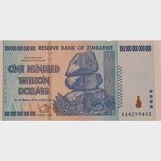 2008 100 Trillion Dollars Bank of Zimbabwe Reserve Note BU