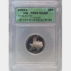 2004-S Texas Silver State Quarter 25¢ ICG PR69 DCAM