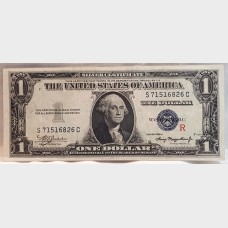 """$1 Bill Silver Certificate Series 1935A  FR1609 """"R"""" Surcharge EF"""