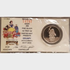 "Disney 50th Anniversary Snow White Series ""Grumpy"" 1/2 Ounce Silver Coin"