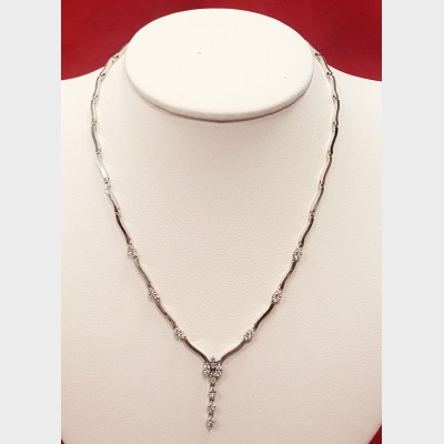 14K White Gold and Diamond Necklace
