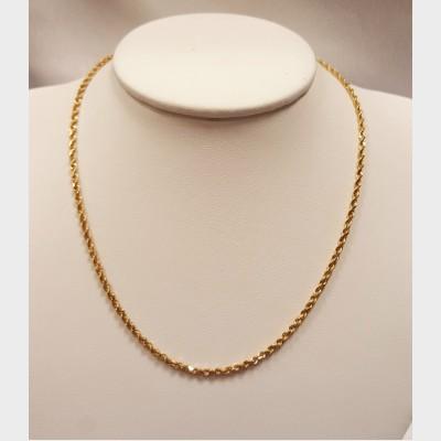 "Men's 16"" 14K Rope Gold Chain"
