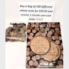 100 Different Lincoln Wheat Cents 1909-1958 and FREE 1909-1940 Album