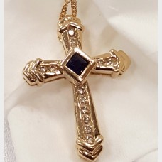 14K Gold Sapphire & Diamond Cross Pendant Necklace