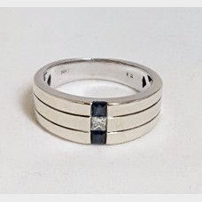 Men's 14KT White Gold Diamond and Black Onyx Ring