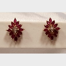 14KT Diamond & Ruby Earrings