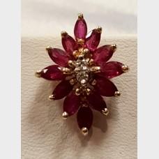 14KT Diamond & Ruby Earrings