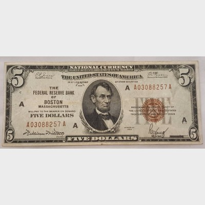 $5 Federal Reserve Note Series 1929 FR1800 VF