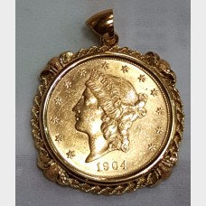 1904 $20 Liberty Head Double Eagle Coin in 14K Gold Bezel