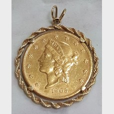 1905 $20 Liberty Head Double Eagle Coin in 14K Gold Bezel