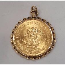 Mexican Veinte Pesos Gold Coin in 14K Gold Bezel