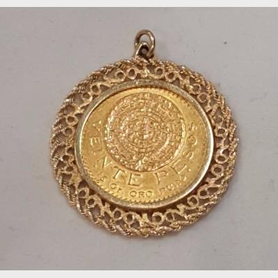 Mexican Veinte Pesos Gold Coin in 14K Custom Gold Bezel