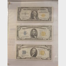 $1 $5 $10 Silver Certificate Bills (Set of 3) Series 1934A-1935A VF