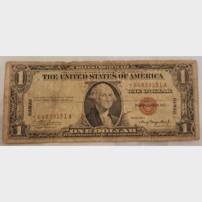 $1 Bill Series 1935A Hawaii Emergency Star Note FR2300★ GD