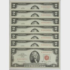 $2 Series 1963A Legal Tender Notes Set of 7 Sequencial CU