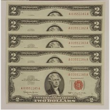 $2 Series 1963 Legal Tender Notes Set of 5 Sequential CU