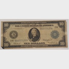 $10 Bill Series 1914 Large Note FR909 VG