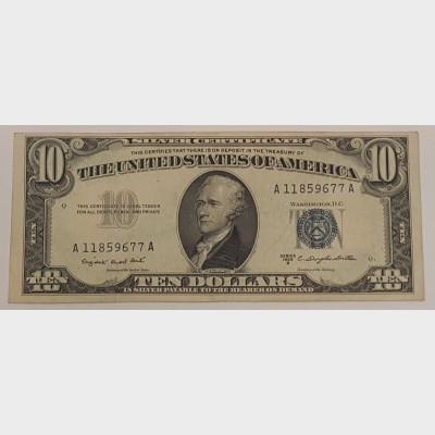 $10 Bill Series 1953B Silver Certificate FR1708 XF
