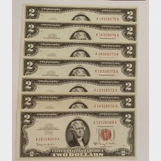 $2 Series 1963A Legal Tender Notes Set of 7 Sequential CU