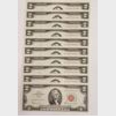 $2 Series 1963A Legal Tender Notes Set of 10 Sequential CU