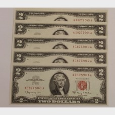 $2 Series 1963A Legal Tender FR1514 Set of 5 Sequential CU