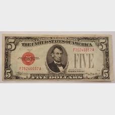 $5 Legal Tender Note Red Seal Series 1928-C FR1528 VF
