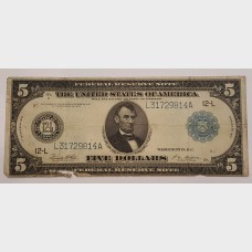 $5 Large Federal Reserve Note Series 1914 FR891B G
