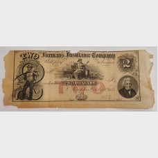$2 1872 Obsolete Bill Fireman's Insurance Company Tennessee AG