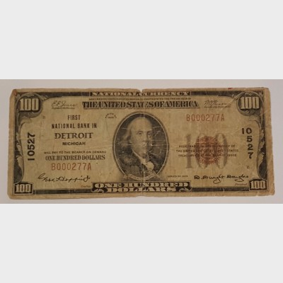 $100 Bill Series 1929 National Bank Note FR1804-1 Type 1 G