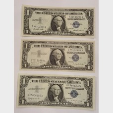 $1 Silver Certificates Blue Seal Series 1957 Set of 3 CU