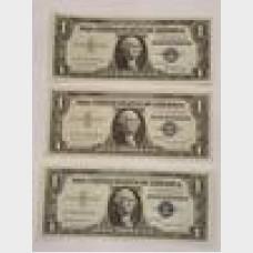 $1 Silver Certificates Blue Seal Series 1957 Set of 3 CU