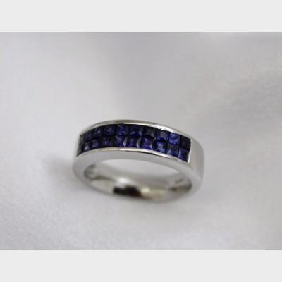 Men's Platinum Channel Set Sapphire Ring