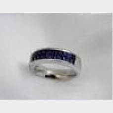 Men's Platinum Channel Set Sapphire Ring