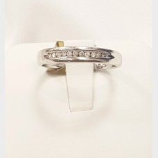 Men's 10K White Gold and Diamond Row Ring