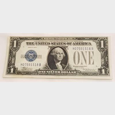 $1 Bill Series 1929D Silver Certificate Blue Seal FR1604 XF+