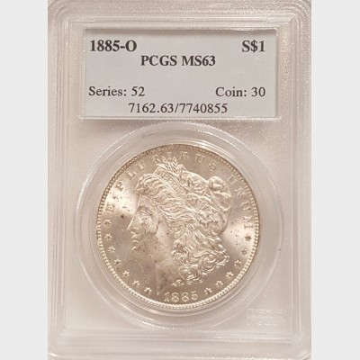 1885-O Morgan Silver Dollar PCGS MS63
