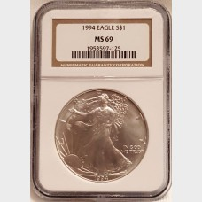 1994 $1 Silver American Eagle NGC MS69