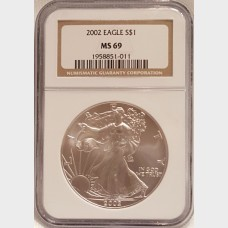 2002 Silver American Eagle $1 NGC MS69
