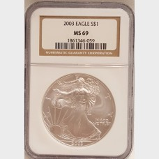 2003 Silver American Eagle $1 NGC MS69