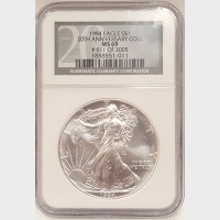 1994 20th Anniversary Silver American Eagle $1 NGC MS69 611/2005