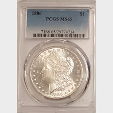 1886 Morgan Silver $1 PCGS MS65