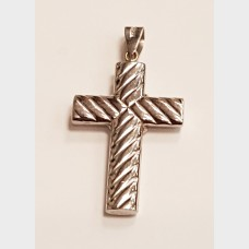 18K White Gold Cross Pendant