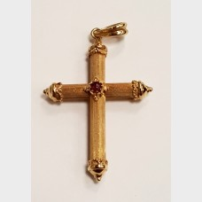 14K Yellow Gold Cross Pendant w/Garnet