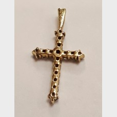 14K Yellow Gold and Diamond Cross Pendant
