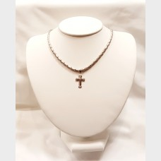 14K White Gold Necklace and Cross Pendant