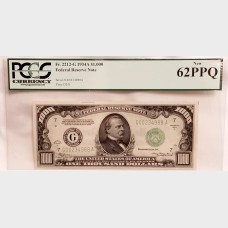 $1000 Series 1934-A Federal Reserve Note FR2212-G PCGS New 62 PPQ