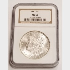 1887 Morgan Silver Dollar $1 NGC MS65