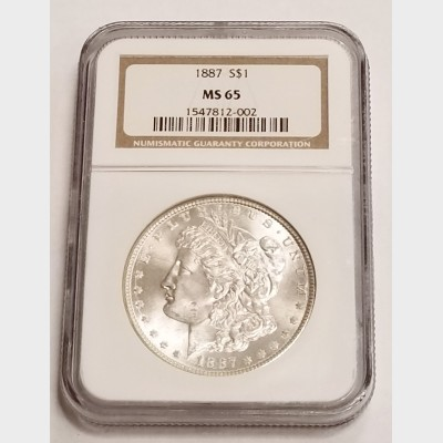 1887 Morgan Silver Dollar NGC MS65