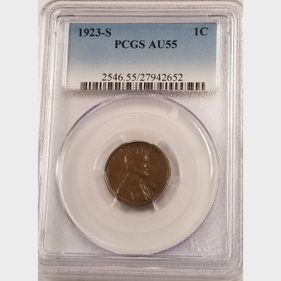 1923-S Lincoln Wheat Reverse Small Cent PCGS AU55